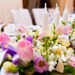 Wedding decoration with flowers and candles — Stock Photo #10215414