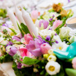 Wedding decoration with flowers and candles - Stock Photo
