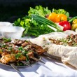 Shashlik with lavash and vegetables — Stock Photo