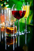 Three different beverages — Stock Photo