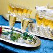 Glasses of champagne for a wedding reception — Stock Photo #8054531