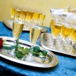 Glasses of champagne for a wedding reception — Stock Photo