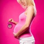Pregnant woman holding alarm clock — Stock Photo