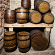 Old wine cellar with tuns - Stock Photo