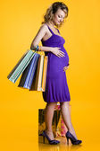 Lovely pregnant woman holding shopping bags — Stock Photo