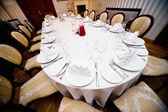 Table appointments for wedding dinner — 图库照片