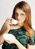 Lady holds cup — Stock Photo