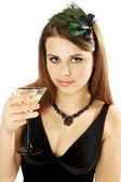 Woman holds Martini — Stock Photo