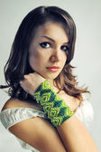 Brunette in bracelet — Stock Photo