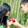 Adam, Eve and apple — Stock Photo