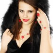 Stock Photo: Brunette in a fur hood