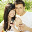 Man and woman drinking wine — Stock Photo