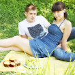 Pair on a picnic — Stock Photo