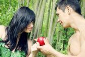 Adam, Eve and apple — Stock Photo