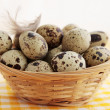 Stock Photo: Smal eggs in basket