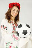 Ukrainian holds ball — Stock Photo