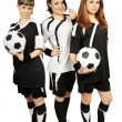 Three girls with balls — Stock Photo