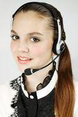 Beautiful female operator — Stock Photo
