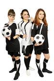 Three girls with balls — Stockfoto