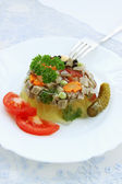 Jellied tongue and vegetables — Stock Photo