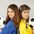 Two football fans — Stock Photo
