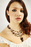 Garnet necklace — Stock Photo