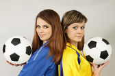 Two football fans — Stockfoto