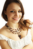 Woman in a necklace — Stock Photo