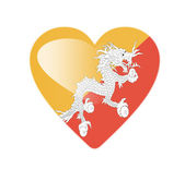 Bhutan 3D heart shaped flag — Stock Photo