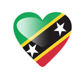 Saint Kitts and Nevis 3D heart shaped flag — Stock Photo
