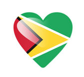 Guyana 3D heart shaped flag — Stok fotoğraf