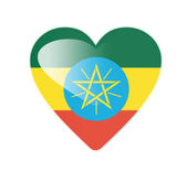 Ethiopia 3D heart shaped flag — Stock Photo