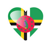 Dominica 3D heart shaped flag — Foto Stock