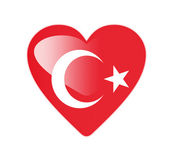 Turkey 3D heart shaped flag — Stock Photo