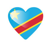 Democratic Republic of the Congo 3D heart shaped flag — Stock Photo