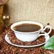 Coffee background - Coffee mill with cup and beans — Stock Photo #10138436