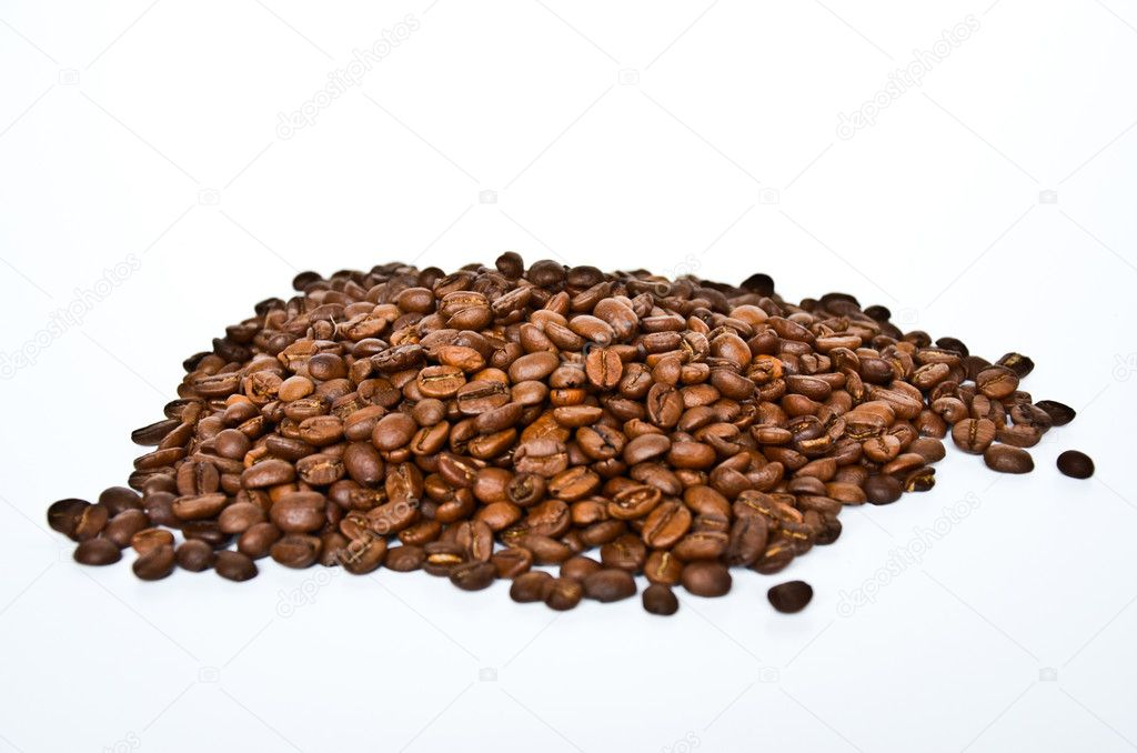 Coffee beans group isolated on white  Stock Photo #10138335