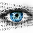 Blue human eye and binary system numbers - Technology concept - Stock Photo