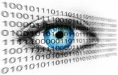 Blue human eye and binary system numbers - Technology concept — 图库照片