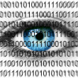 Royalty-Free Stock Photo: Blue eye with binary numbers
