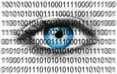Blue eye with binary numbers — Stock Photo
