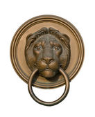 Lion door knocker isolated on white — Photo