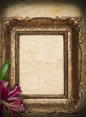Vintage golden frame on grunge background — Stock Photo