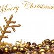 Royalty-Free Stock Photo: Golden Christmas background with pearls and golden snow flake is