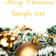 Gold Christmas background with ornaments — Stock Photo