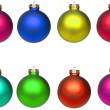 Set Christmas baubles isolated on white — Stock Photo