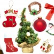 Set of various Christmas ornaments and objects — Stock Photo