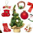 Set of various Christmas ornaments and objects - Stock Photo