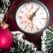 Clock and christmas background - Christmas is coming conceptual image — Stock Photo