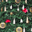 Stock Photo: Christmas tree decorated with colorful ornaments close-up